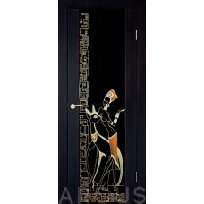 Триплекс 3.1 - стекло триплекс чёрный с витражом (контур золото)